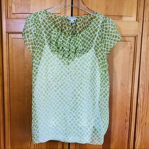 Banana Republic Sheer Green Print Blouse Sz Large